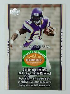 2007 Upper Deck Collect the Rookies Rules Adrian Peterson Rookie RC, Vikings