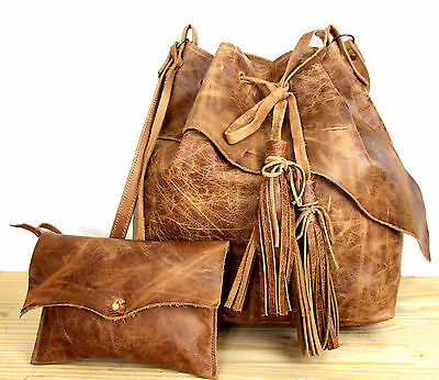LARGE MURKA RAW EDGE BROWN LEATHER TASSEL DRAWSTRING BUCKET SHOULDER BAG+ POUCH