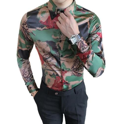 Mens Printed Floral Lapel Collar Casual Shirts Slim Fit Blouse Tops Long Sleeve