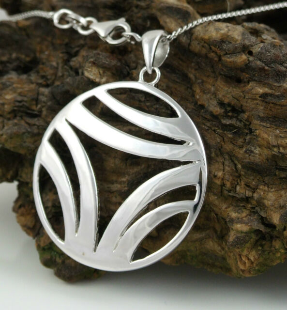 AP5305 Ladies Solid 925 Sterling Silver Round Design Pendant & 20'' Curb Chain