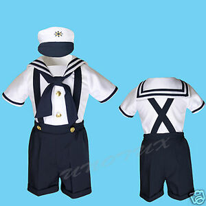 S M L XL-4T Baby Boy Toddler Formal Party Nautical Navy Sailor Suit Outfits SZ