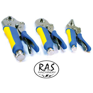 LOCKING-PLIER-SET-CURVED-JAW-amp-STRAIGHT-LONG-NOSE-vice-clamp-mole-grips-3pc-Set
