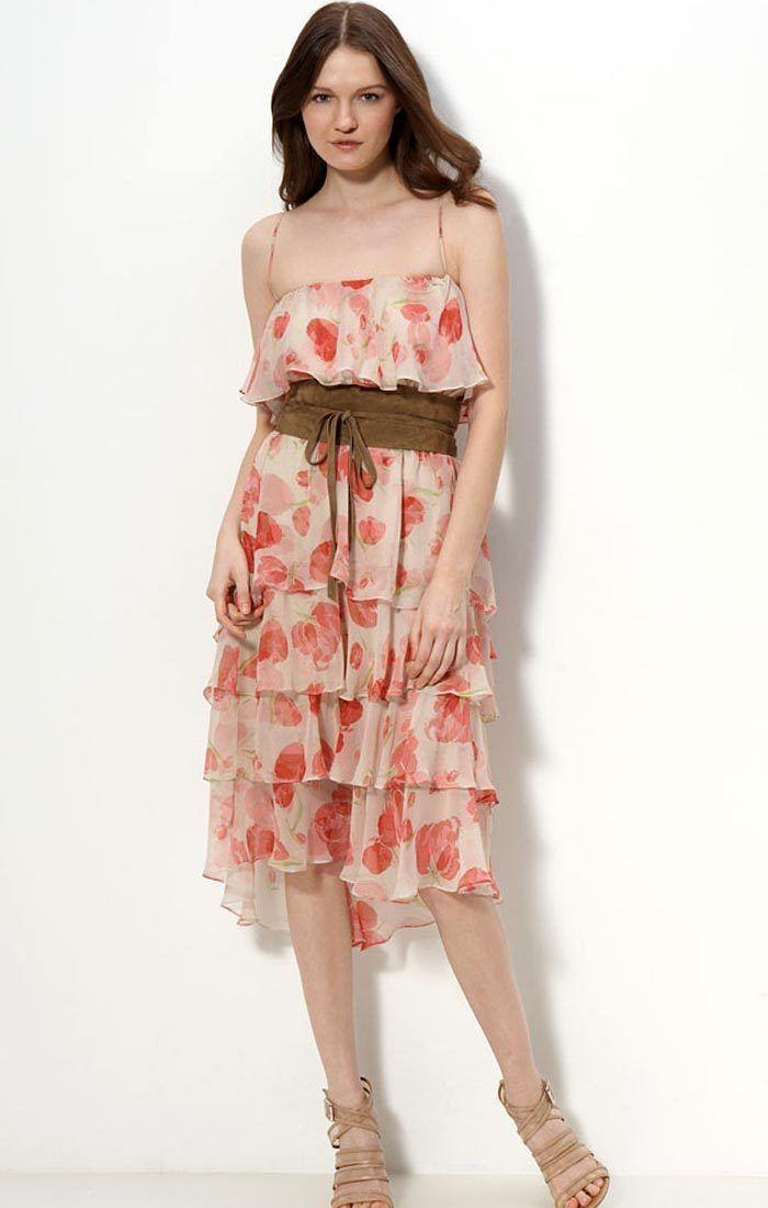 Haute Hippie Floral Print Sleeveless Silk Dress with Suede Belt   Size XS