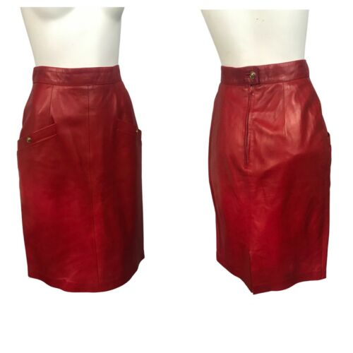 Small 80s Red Leather Pencil Skirt High Waisted Above The Knee Red Leather Skirt S 26 Waist
