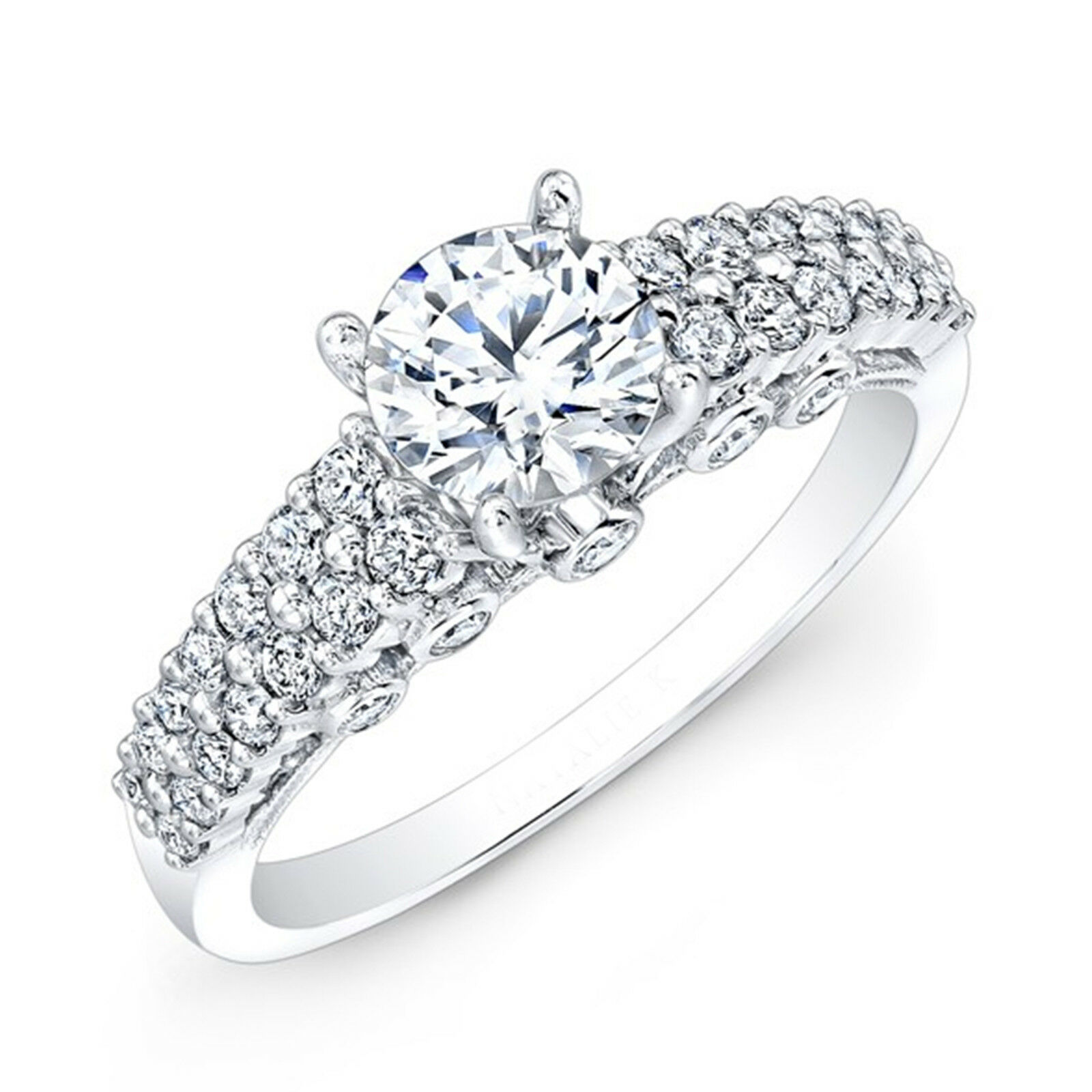 1.07 Ct Round Solitaire Diamond Engagement Ring 14K Solid White gold Rings 051