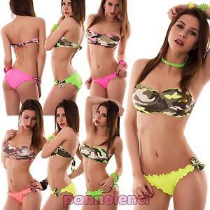 Bikini donna costume da bagno mimetico fascia militare due pezzi ...