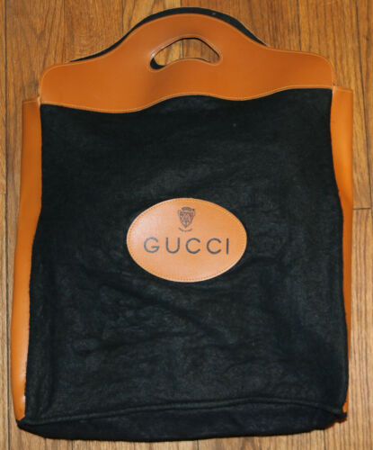 GUCCI vintage black wool felt 70's shoppers tote b