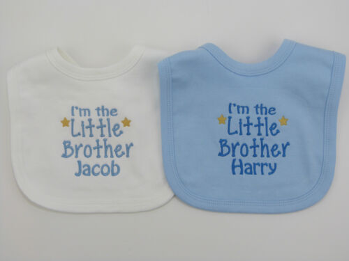Personalised I/'m The Little Brother Baby Bib Babies Clothes Cute Funny Gift
