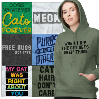 Meow Cute Kitty face Women/'s Hoodie Gift for Cat Lovers Hooded Sweatshirt