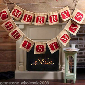Image Is Loading MERRY CHRISTMAS Burlap Hessian Bunting Banner Flags Vintage