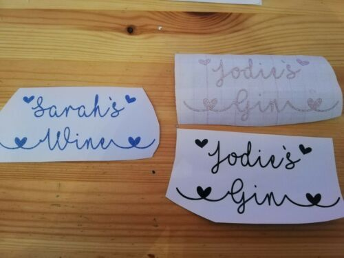 Personalised Glitter Vinyl Name Gin Glass Wine Wedding hearts