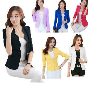 Damen-One-Button-Slim-Buero-Business-Blazer-Anzug-Jacke-Coat-Sakko-Knopf-Freizeit