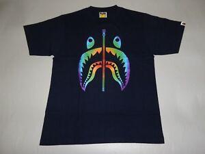 c6a5b5a0 Image is loading 17651-bape-rainbow-shark-navy-tee-XXL