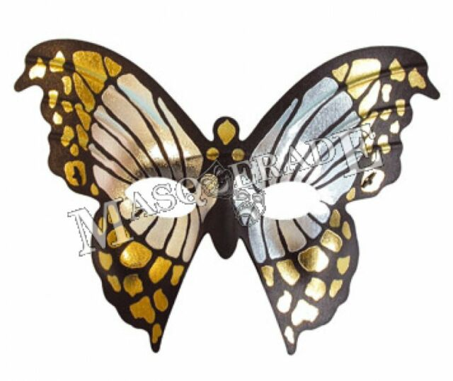 masquerade mask ladies mariposa/ butterfly gold /silver pattern