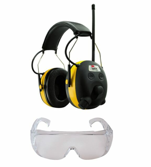 PELTOR WORKTUNES AM FM MP3 Radio HEADPHONES Hearing PROTECTION w/ SAFETY Glasses