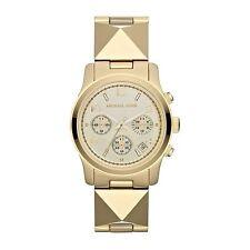 Michael Kors MK5797 Women's Pyramid Gold Tone Runway Bracelet Watch