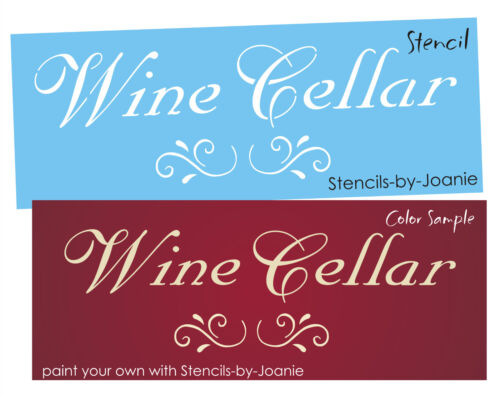 French Stencil Wine Cellar Fancy Scroll You Paint Country Prim Kitchen Door Sign