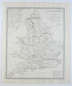 Sduk Map Ancient Britain England Wales 1834 Published 1844 Ebay