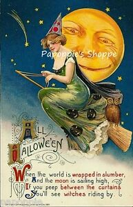 Fabric-Block-Halloween-Vintage-Image-Flying-Witch