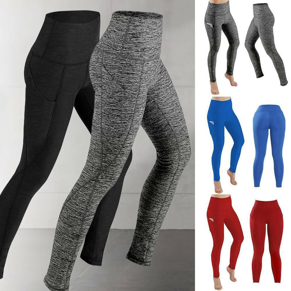 Women High Waist Yoga Pants With Pockets Leggings Sport Push Up Gym Fitness US