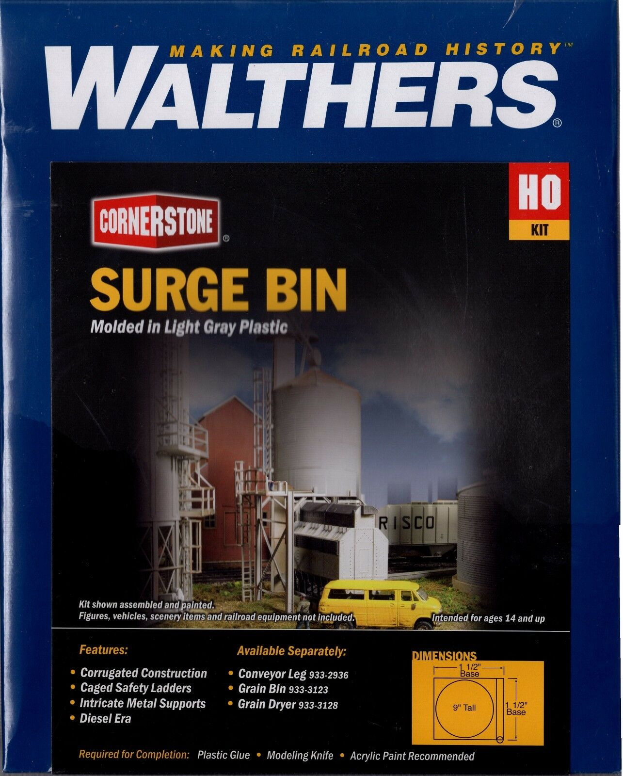 HO Scale Walthers Cornerstone 933-2935 Grain Surge Bin Building Kit