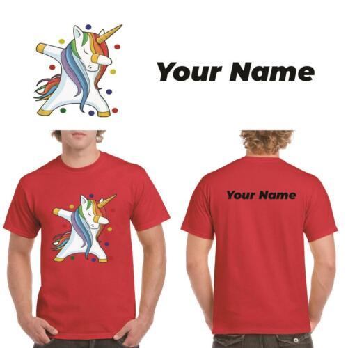 Nome Retro Nero A Pois Unicorno DAB Da Uomo Pudsey Bear T-Shirt Personalizzata Regalo