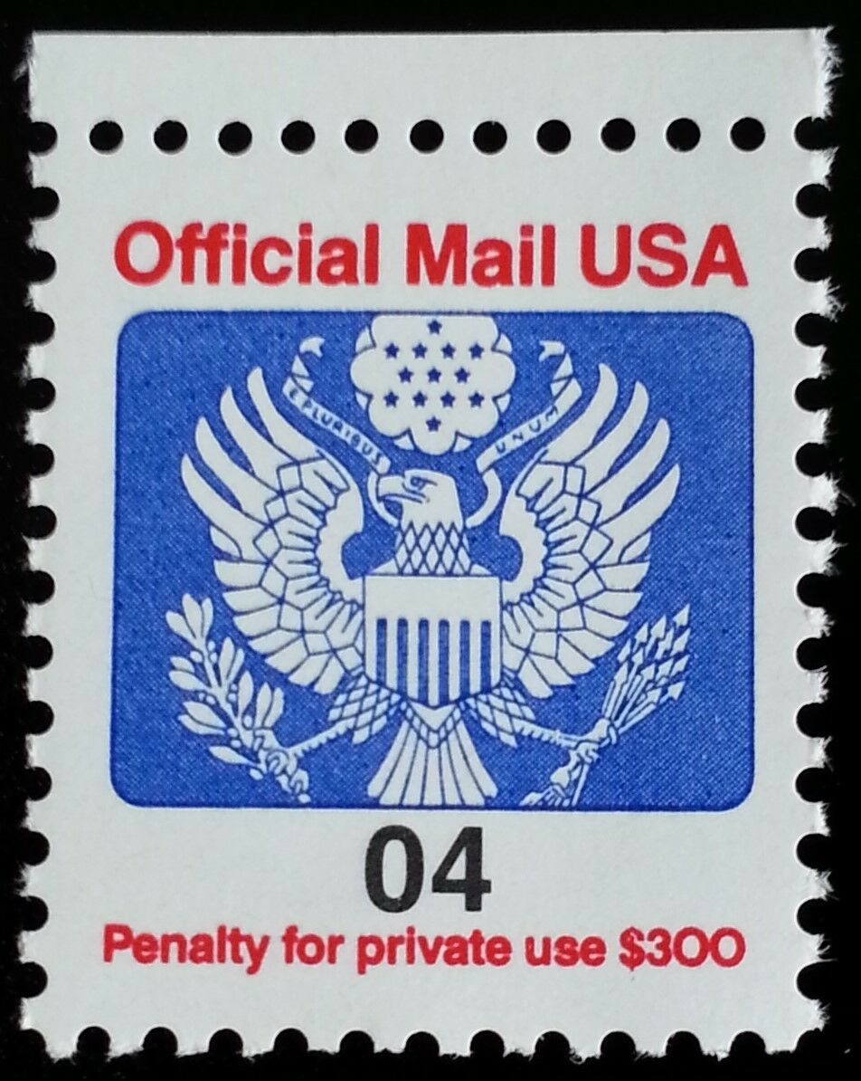 1991 4c Eagle Official Mail USA Red & Blue Scott O146 M