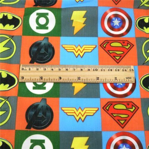 FABRIC DC COMICS SUPER HERO EMBLEM PRINT POLYCOTTON BLEND 50 X 145 CM//20 X 58 IN