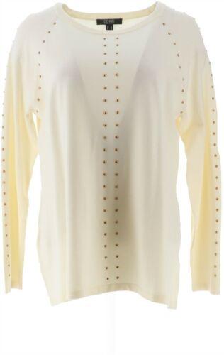 Dennis Basso Crew-Neck Sweater Embellishment Antique Ivory L NEW A369859