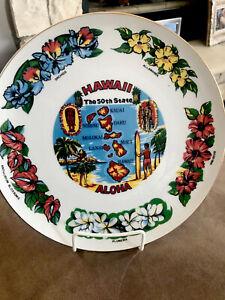 Vintage Hawaii Aloha Souvenir State Plate Porcelain