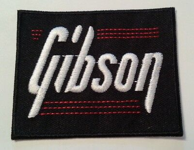 """Gibson Guitar Patch Embroidered Applique~@ 3/"""" x 2 3//8/""""~Iron Sew On~Ships FREE"""