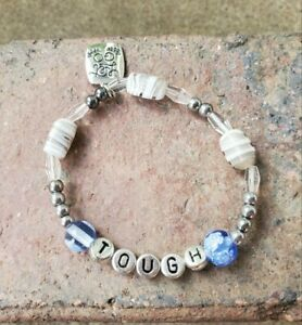 handmade-womens-meaningful-034-tough-034-quote-blue-amp-silver-beads-stretch-bracelet