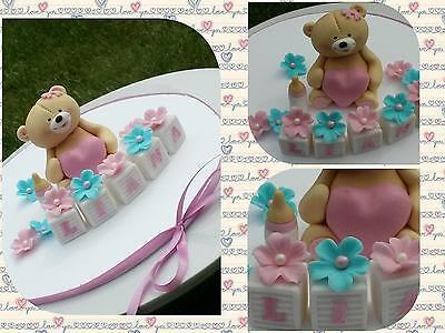 Teddybär mit Herz Zuckerfigur Zuckerdekor Tortendekoration Fondant Geburt Taufe