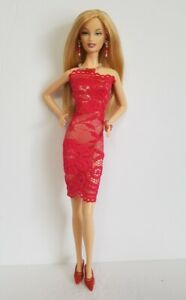Model-Muse-Barbie-Fashionistas-Sexy-Red-Lace-Dress-amp-Jewelry-Fashion-NO-DOLL-d4e