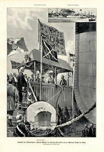 Stapellauf Vulkan Werft Stettin XL Druck 1905 Dampfer Kaiserin Viktoria Auguste