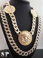 Medusa Cuban Chain & Full Iced Out Cuban Chain Hip Hop 2 Necklace Combo Set