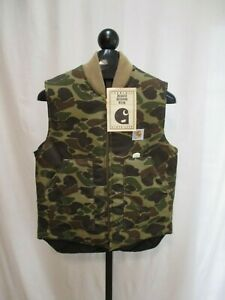 NOS-Carhartt-Insulated-Quilted-Lined-Vest-Woodland-Camo-Size-MEDIUM