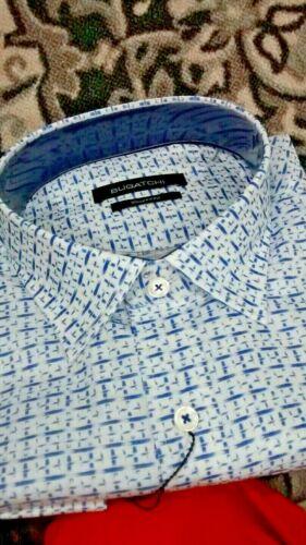 NWT Bugatchi men/'s size L long sleeve button down shirt geometric patt,shapedfit