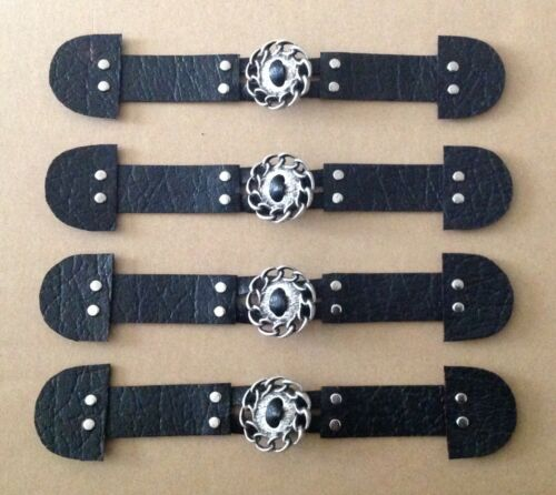 Duffle Coat Sujetador botón de alternar redondos de metal plateado 4 xtextured Cuero Negro