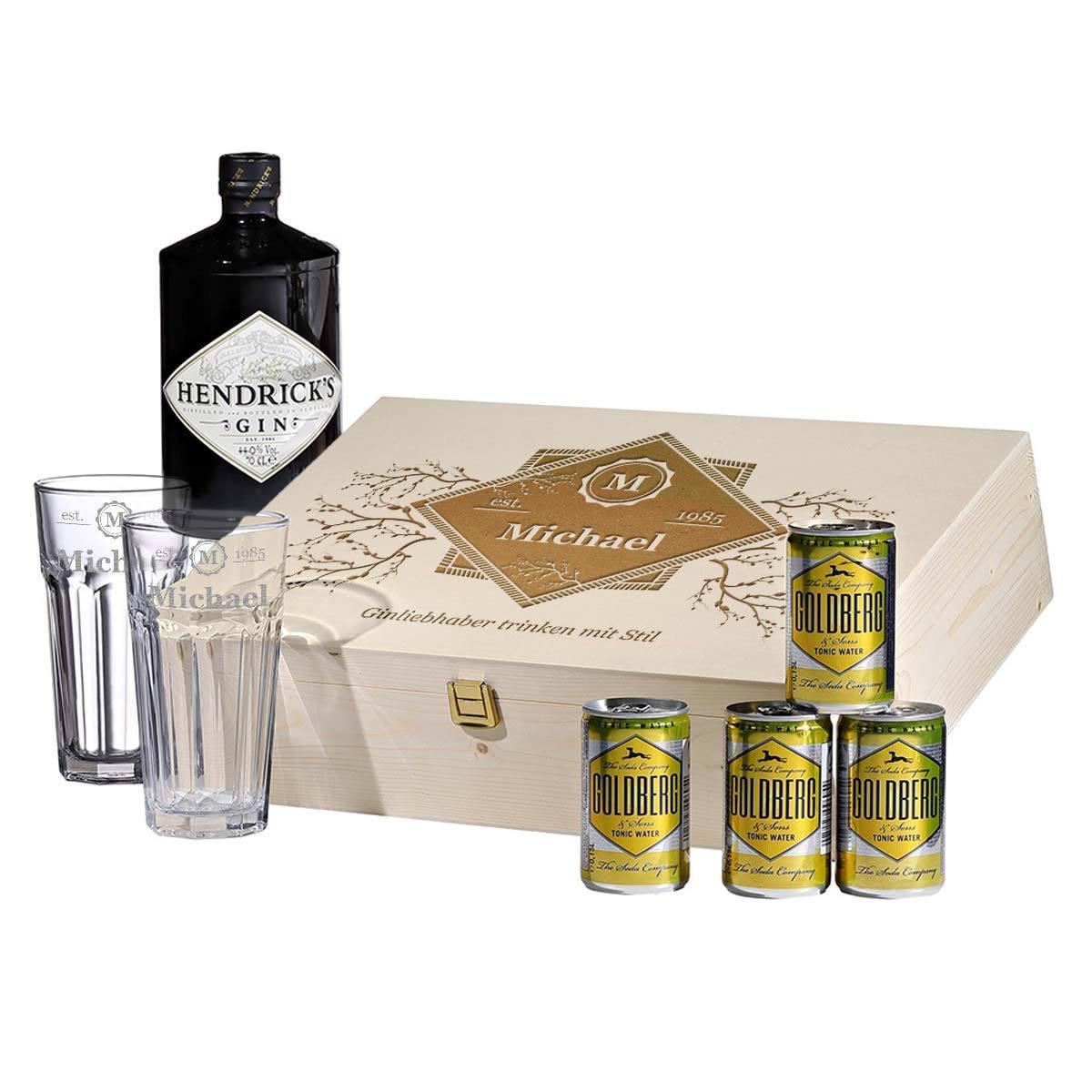8 pièces Gin-Tonic-Set incl. Gravure Motif Boire avec style