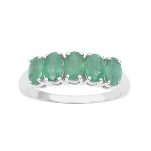 925-Sterling-Silver-Genuine-Emerald-Gemstone-2-1-Ctw-Ring