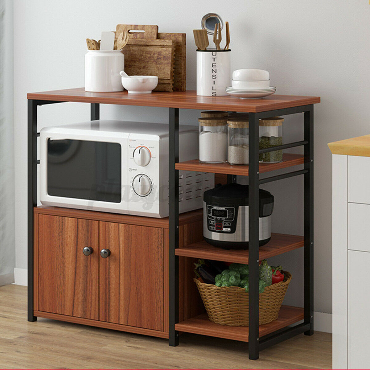 Tall Microwave Cart Stand Kitchen Storage Cabinet Shelves Pantry Cupboard White For Sale Online Ebay