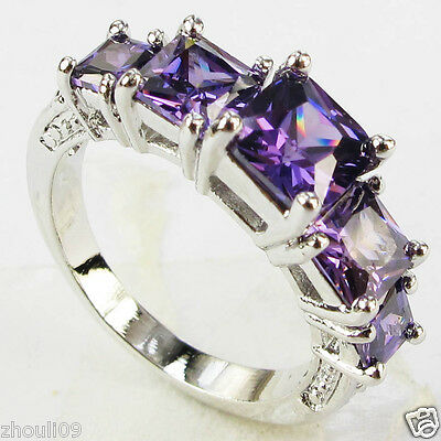 Elegant gorgeou 925 Silver Glod Filled tanzanite 6ct silver Ring Size6-size9
