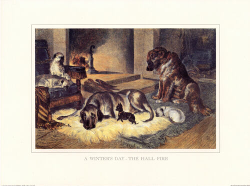 "PUG ENGLISH TOY TERRIER MASTIFF LEONBERGER DOG ART PRINT /""Engraving/"" Winters Day"