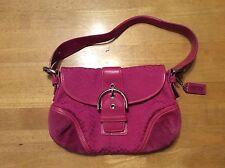 COACH Fushia Pink Small C Fabric Leather Suede Handbag Purse Bag with Hangtag