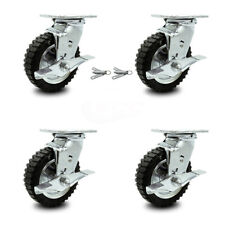 6 Inch Black Pneumatic Wheel Caster Set 4 Swivel With Brakes 2 With Swivel Locks