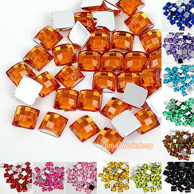 1000pcs Square 4/5/6mm Checker Cut Acrylic Flat Back Rhinestones Scrapbook Craft