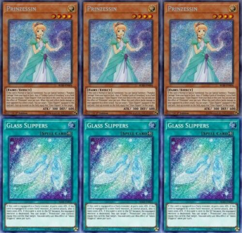 3x Prinzessin 3x Glass Slippers BLRR-EN004//011 Secret Rare 1st Ed NM//M YuGiOh!