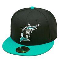Era Florida Marlins Fitted Hat Cap Black/teal/grey Bottom