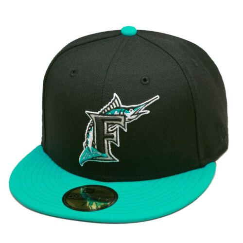 New Era 59FIFTY Florida Marlins Fitted Hat Black//Teal//Grey Undervisor//100/% Wool
